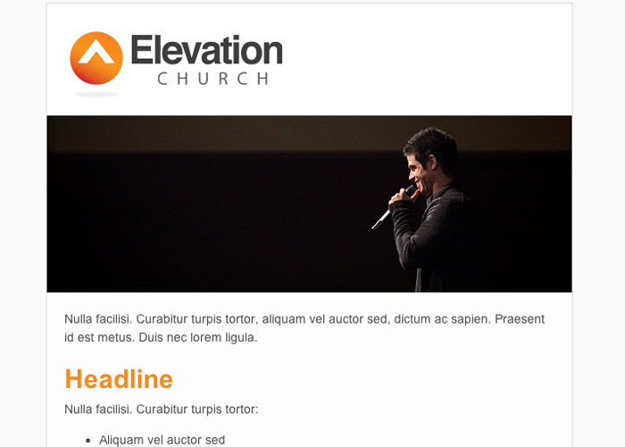 Elevation Church example email template for MailChimp