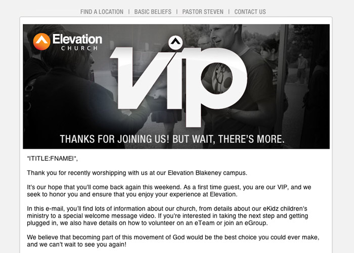 Elevation Church VIP email for first time visitors