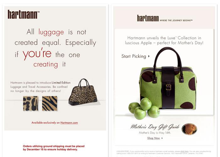 Hartmann.com Email Marketing examples
